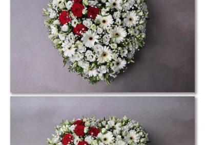 coeur blanc et pointe de rouge petales de rose fleuriste