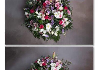 coussin rond pastel petales de rose fleuriste la tour d-aige