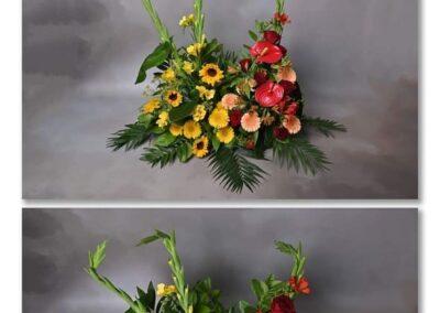 devant de tombe moderne colore fleuriste vaucule